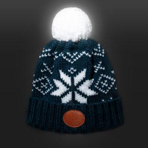 New Glowbee leuchtende Mütze - Leuchtbommel blau Norwegermuster