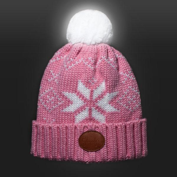 New Glowbee leuchtende Mütze - Leuchtbommel rosa Norwegermuster